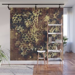 bees fill honeycombs in hive splatter watercolor old brown Wall Mural