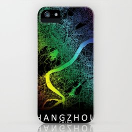 Hangzhou, China, City, Map, Rainbow, Map, Art, Print iPhone Case