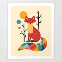 bruno mars Art Prints featuring Rainbow Fox by Andy Westface