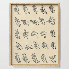 Vintage Sign Language Alphabet Serving Tray