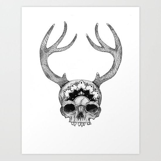 Mandala Skull With Gorgeous Antlers by fernwehwolf