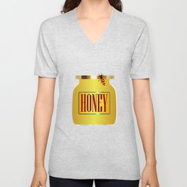 Honey Pot And Bee Unisex V-Neck