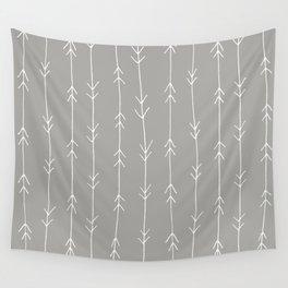 Grey, Fog: Arrows Pattern Wall Tapestry