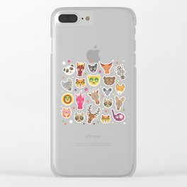 funny animals lion, kangaroo, horse, bear, mouse, raccoon, deer Clear iPhone Case