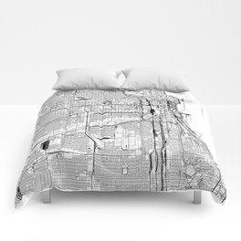 Chicago White Map Comforters