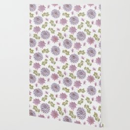 Lavender Rose Garden Floral Pattern Wallpaper