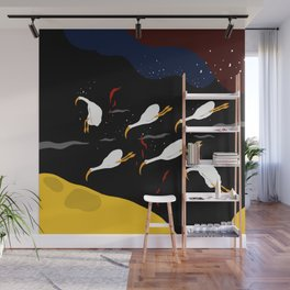 swan in the space by artist ozo Wall Mural