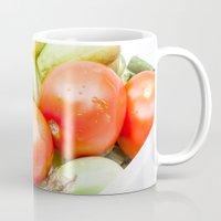 vegetables Mugs featuring vegetables by Marcel Derweduwen