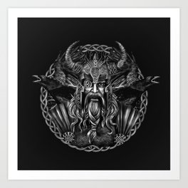 Odin and his ravens Huginn and Muninn Art Print