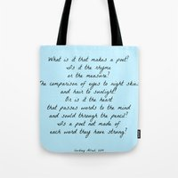 poetry Tote Bags featuring Poetry by ChasingStars