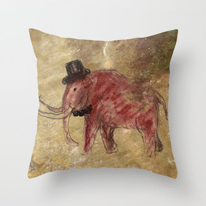 Cave art vintage mamut. Throw Pillow