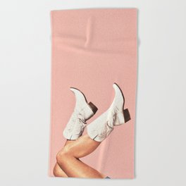 These Boots - Pink Beach Towel