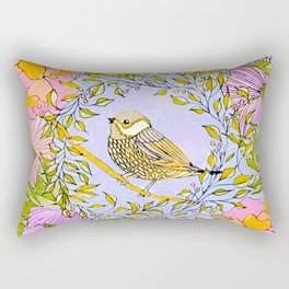 Spring Chickadee in Flowery Woodland Wreath Rectangular Pillow