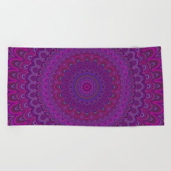 Purple flower mandala Beach Towel