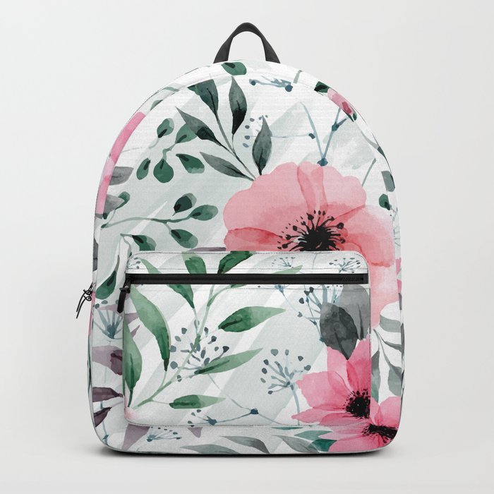 Illustration watercolor flowers and plants Backpack