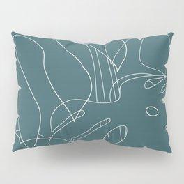 Monstera No2 Teal Pillow Sham