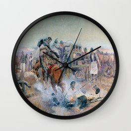 C.M. Russell Bronc Breakfast  Wall Clock
