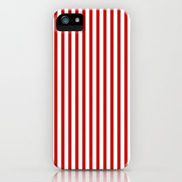 Red & White Maritime Vertical Small Stripes - Mix & Match with Simplicity of Life iPhone Case
