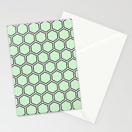 Light green, white and black hexagonal pattern Stationery Cards