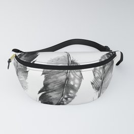 Three Feathers Black And White II Fanny Pack