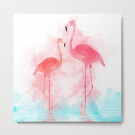 Soft coral turquoise Flamingos haven - watercolour effect Metal Print