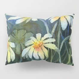 Daisies Watercolor Abstract Flowers Pillow Sham