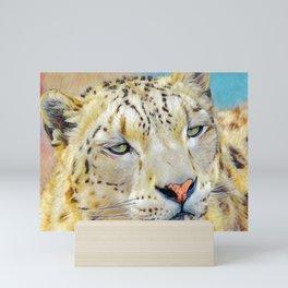 Gazing Snow Leopard Mini Art Print