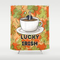 irish Shower Curtains featuring Irish Luck by girlwiththetea