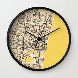 Chennai Yellow City Map Wall Clock