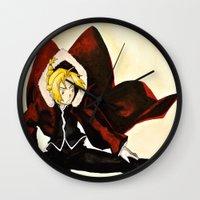 fullmetal Wall Clocks featuring Fullmetal Alchemist - Edward Elric by VoicesRantOn