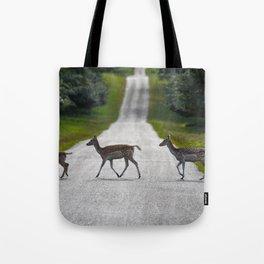 Deer crossing the road Tote Bag