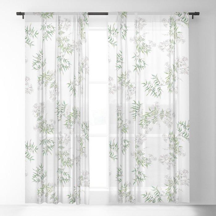 Jasmine Flower Illustration Sheer Curtain