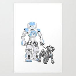 The Dog Walker. (Blue) Art Print