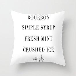 Mint Julep Cocktail Recipe Throw Pillow