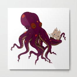 Monster Octopus Metal Print