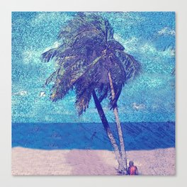 Stormy day at the beach Palm trees Canvas Print