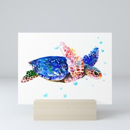Sea Turtle, blue rainbow Mini Art Print
