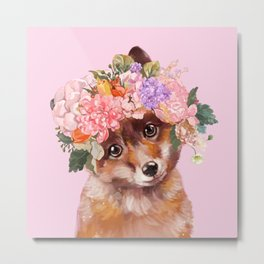Baby fox with Flower Crown Metal Print