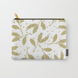 Lush elegant white gold glitter leaves polka dots Carry-All Pouch