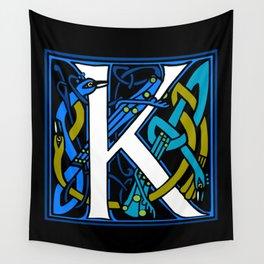 Celtic Peacock Letter K Wall Tapestry