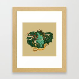 Green Witch with Frogs and Mushrooms Framed Art Print