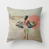 surfer Throw Pillows featuring Surfer  by Mary Kilbreath