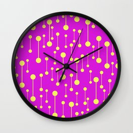 Bonded - Minimalistic Pattern In Purple And Yellow Wall Clock