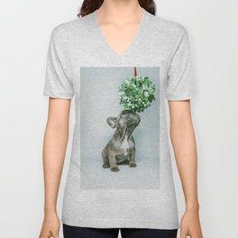 Christmas Pup Under Mistletoe (Color) Unisex V-Neck