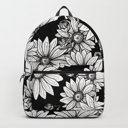 Field of Daisies: Black and White Backpack