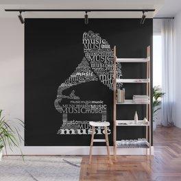 Invert typographic gramophone Wall Mural