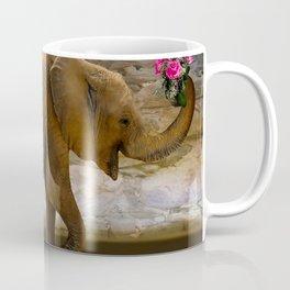 Cheerful elephant with flowers Coffee Mug