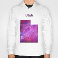 utah Hoodies featuring Utah Map by Roger Wedegis