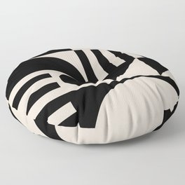 Mid Century Modern Geometric Abstract 936 Black and Linen White Floor Pillow
