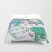 emma watson Duvet Covers featuring Emma by Beth Gilmore
